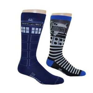 Doctor Who Tardis & Dalek 2 Pack Men's Socks NWT